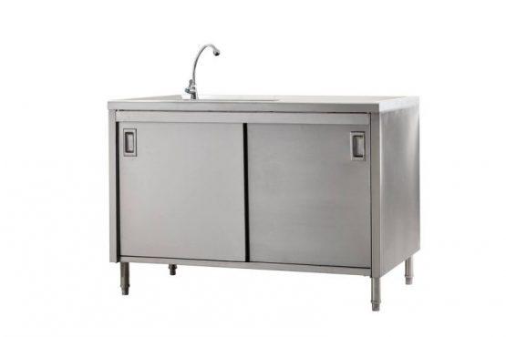 ตู้พร้อมอ่างล้างจานด้านซ้าย แบบประตูเลื่อน ไม่มีการ์ดหลัง