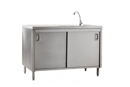 ตู้พร้อมอ่างล้างจานด้านขวา แบบประตูเลื่อน ไม่มีการ์ดหลัง