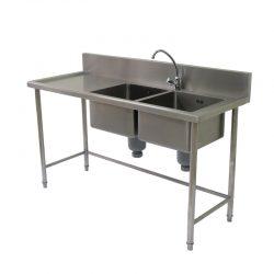 Right 2 Sink Table With Splash Back อ่างล้างจานด้านขวา 2 หลุม พร้อมโต๊ะ มีการ์ดหลัง