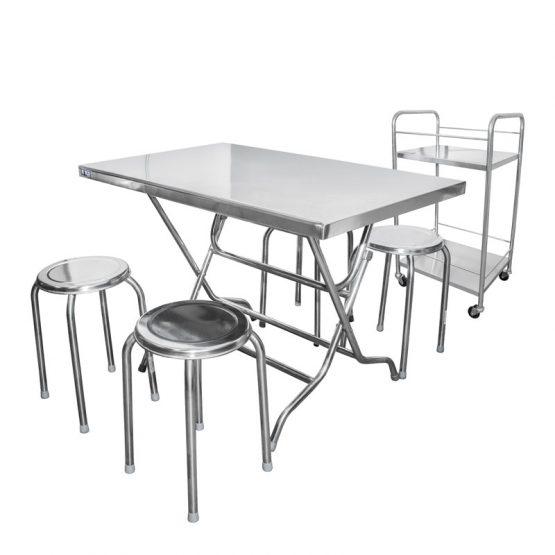 ชุดโต๊ะพับสเตนเลส + บาร์น้ำ