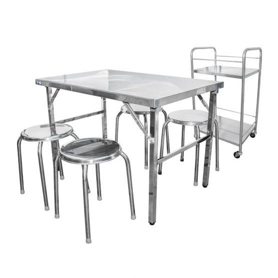 ชุดโต๊ะสเตนเลส + บาร์น้ำ